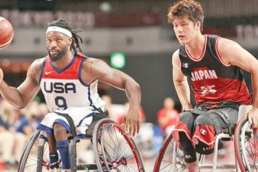 Action from the match between USA and Japan