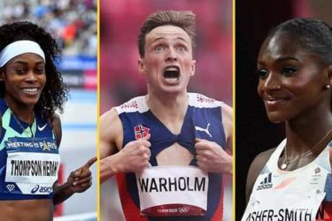 From left: Elaine Thompson-Herah, Karsten Warholm and Dina Asher-Smith