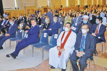 Prime Minister Mahinda Rajapaksa and Foreign Minister Prof.G.L.Peiris participating in the opening ceremony of the G20 Interfaith Forum at the University of Bologna in Italy. (Picture by Prime Minister's Media Division)