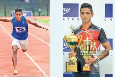 Chamod Mahinsasa Yodasinghe in action at a meet.    Pictures. by Upananda Jayasundera-Kandy Sports Spl.Corr     -Chamod Mahinsasa Yodasinghe with  the Trophy for being the Best Athlete.