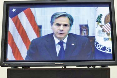 US Secretary of State Antony Blinken testifies virtually before the House Foreign Affairs Committee on Capitol Hill.