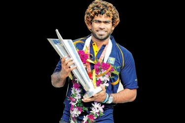 Lasith Malinga with the T20 World Cup Trophy