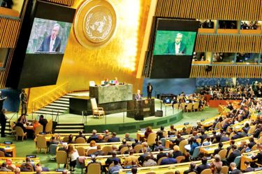 UN General Assembly in session.