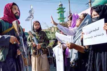 A group of women who dared to protest against the Taliban in the Afghan capital Kabul.