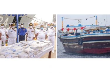 Navy officials with the heroin haul and the vessel.Pictures by Navy Media.