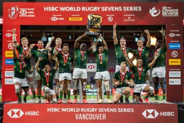 South Africa Rugby Team celebrate with the Trophy