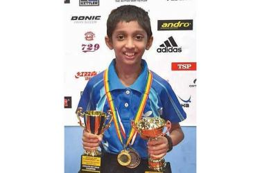 Sanuka Somathillake with the Trophies and the Medals he has won. (Picture By Upananda Jayasundera-Kandy Sports Spl.Corr