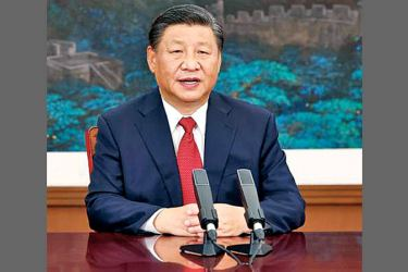 Chinese President Xi Jinping addresses the general debate of the 76th session of the United Nations General Assembly via video in Beijing, China on Tuesday. - XINHUA