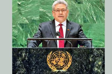 President Gotabaya Rajapaksa addressing the 76th session of the UN General Assembly in New York yesterday.