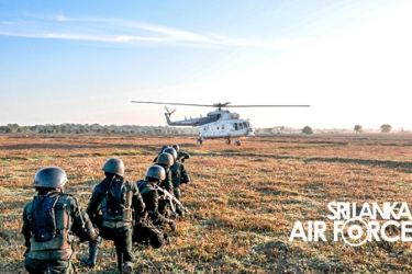 The Sri Lanka Air Force Regiment Special Forces conducting a Combat Search and Rescue training exercise during Cormorant Strike Exercise XI at Narakamulla in the general area of Thoppigala on Tuesday.