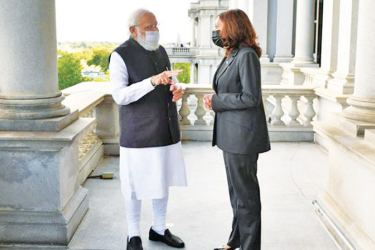 Indian Prime Minister Narendra Modi and US Vice President Kamala Harris meeting at the Eisenhower Executive Office Building, near the White House on Thursday.