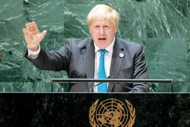 British Prime Minister Boris Johnson addressing the 76th Session of the United Nations General Assembly at the UN Headquarters on Wednesday.