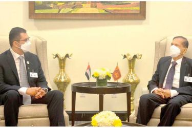 Foreign Minister Prof. G.L. Peiris meeting the Minister of Industry and Advanced Technology of the United Arab Emirates Dr. Sultan Al Jaber, on the sidelines of the 76th session of the United Nations General Assembly.