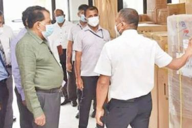 Southern Province Governor Dr. Wilie Gamage along with Officials and hospital staff during the inspection tour.