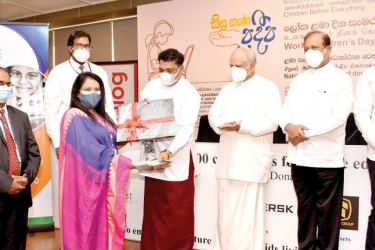 Dhilan Mitchell, Chief Operating Officer and Manjari Kumarage, Head of Human Resources of Fairfirst Insurance hands over the donation to Sudheera Withana, Commissioner of Probation and Child Care Services, Piyal Nishantha, Dinesh Gunawardena, Susil Premajayantha and Namal Rajapaksa
