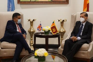 Foreign Minister Prof. G. L. Peiris meeting British Minister of State for South Asia, United Nations and the Commonwealth Lord Ahmad of Wimbledon at the Sri Lanka Mission in New York.