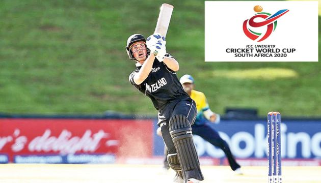 Kristian Clarke of New Zealand hits the winning runs during the ICC U19 Cricket World Cup Group A match against Sri Lanka at Mangaung Oval, Bloemfontein on Wednesday.