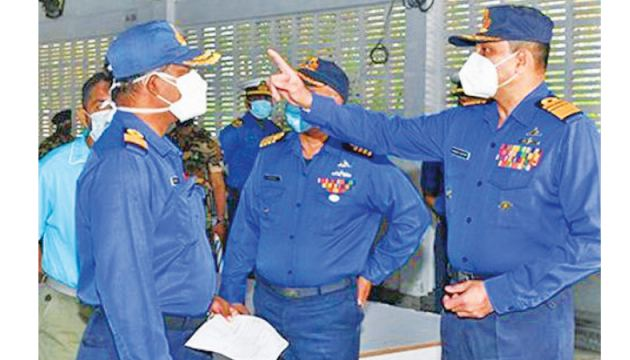 Navy Commander Vice-Admiral Nishantha Ulugetenne inspecting the project sites. Picture courtesy: Navy Media Unit.