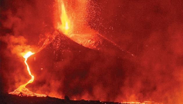 Huge bursts of lava shooting into the air on the Spanish island of La Palma as new vents opened in the Cumbre Vieja volcano.
