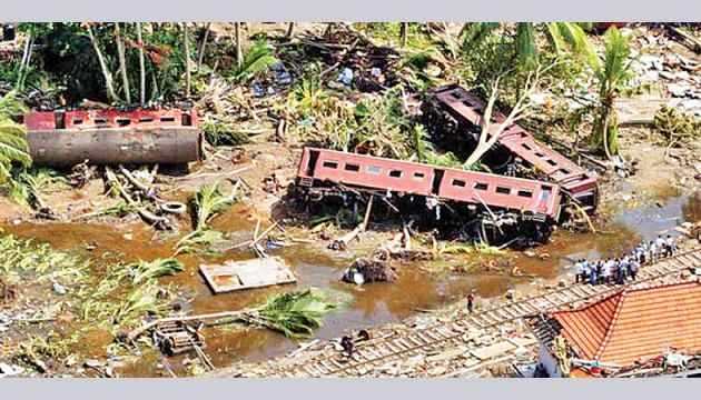 The train caught in giant tsunami wave in Peraliya on December 26, 2004.