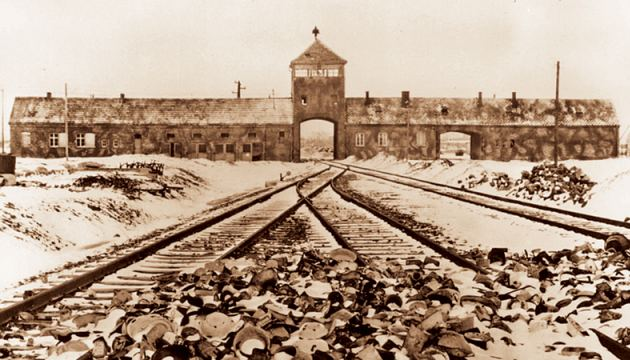 Entrance to the Auschwitz death camp photographed soon after WW2.