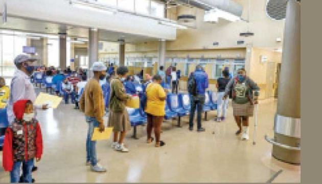 The waiting area at Thembisa Hospital,in South Africa where COVID-19 admissions have fallen sharply recently.