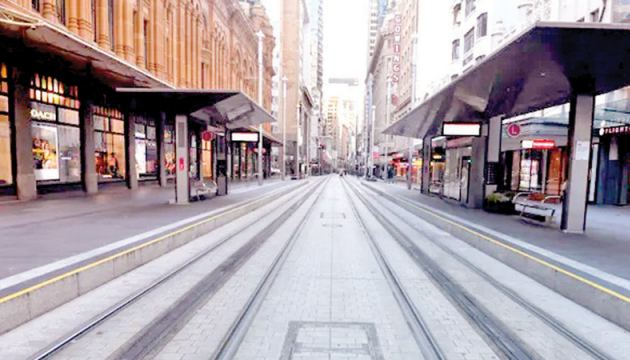 A near empty George Street in Sydney's central business district.