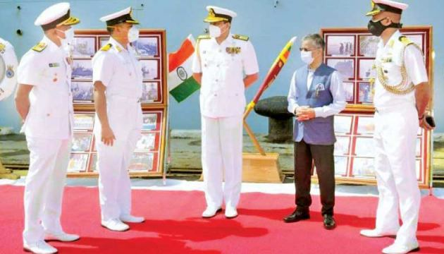 Navy Commander Vice Admiral Nishantha Ulugetenne greets Captain Mathew and his officers, on arrival of INS Shakti in Colombo. Indian High Commissioner Gopal Baglay is also present.