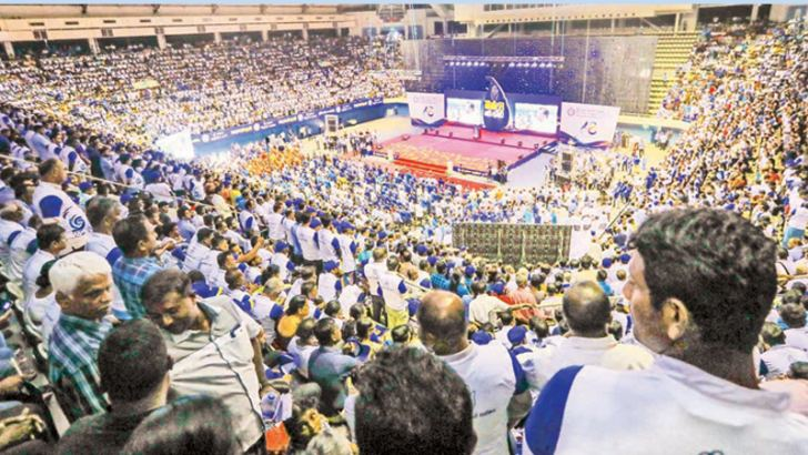 The vast crowds that gathered at the 68th annual convention of the Sri Lanka Freedom Party Convention held at the Sugathadasa Stadium yesterday. Picture by Sudath Silva