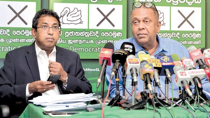 Ministers Mangala Samaraweera and Harsha de Silva at press briefing. Picture by Vipula Amarasinghe