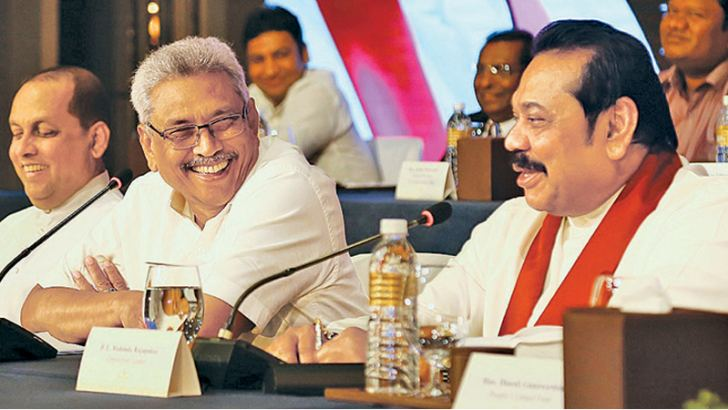 SLPP candidate Gotabaya Rajapaksa and Opposition Leader and SLPP Chairman Mahinda Rajapaksa at the press conference yesterday. Picture by Wasitha Patabendige.
