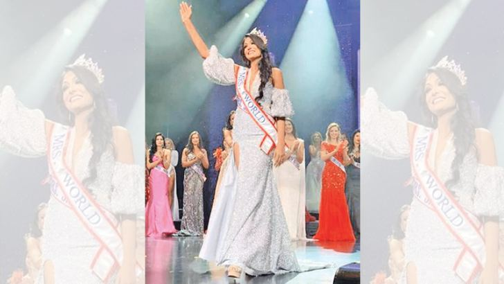 BRINGING HONOUR TO SRI LANKA: Caroline Jurie crowned Mrs. World 2020 at the pageant held in Las Vegas, United States on Saturday.