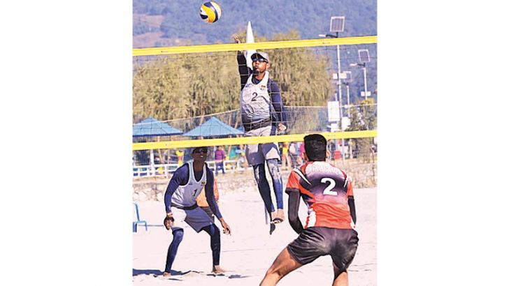 The all-Sri Lanka men's beach volleyball final in progress on the eighth day of the SAG at Kathmandu, Nepal.