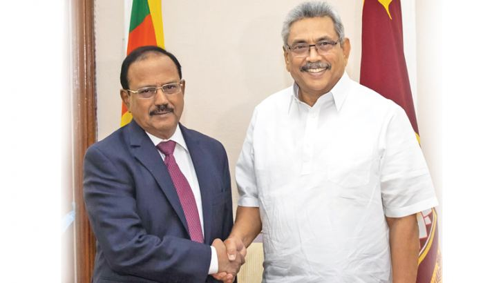 STRENGTHENING COOPERATION: President Gotabaya Rajapaksa met India's National Security Advisor Ajit Doval at the Presidential Secretariat on Saturday (18).The talks focused on strengthening bilateral relations of the two countries.