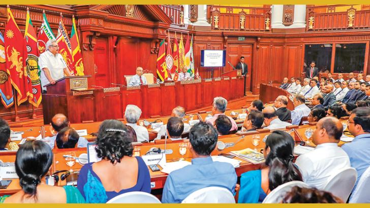 President Gotabaya Rajapaksa addressing the Chairmen and Directors of Corporations, Statutory Bodies at the Presidential Secretariat yesterday. Secretary to the President Dr.P.B.Jayasundera was also present. Picture courtesy President's Media Division