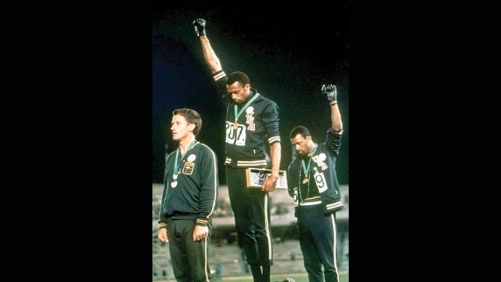 John Carlos and Tommie Smith's famous black power salute in 1968 Olympics