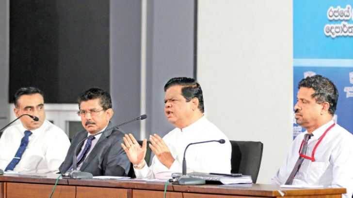 Information and Mass Media and Higher Education, Technology and Innovation Minister Dr Bandula Gunawardena addressing the media  on the measures in place to prevent the spread of COVID – 19 in Sri Lanka. Health Services Director General  Dr Anil Jasinghe was also present. Picture by Saman Sri Wedage
