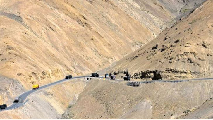 The road along the Galwan Valley in Ladakh.