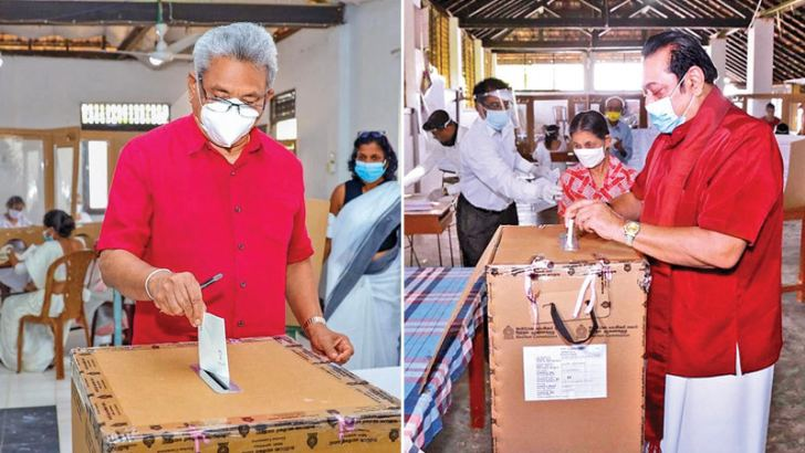 [Left] President Gotabaya Rajapaksa cast his vote for the Parliamentary Election 2020 at Sri Vivekaramaya Temple in Pangiriwatta, Nugegoda. First Lady Ayoma Rajapaksa also cast her vote. [Right] Sri Lanka Podujana Peramuna leader and Prime Minister Mahinda Rajapaksa casting his vote at the Mademulana D.A.Rajapaksa Maha Vidyalaya yesterday.