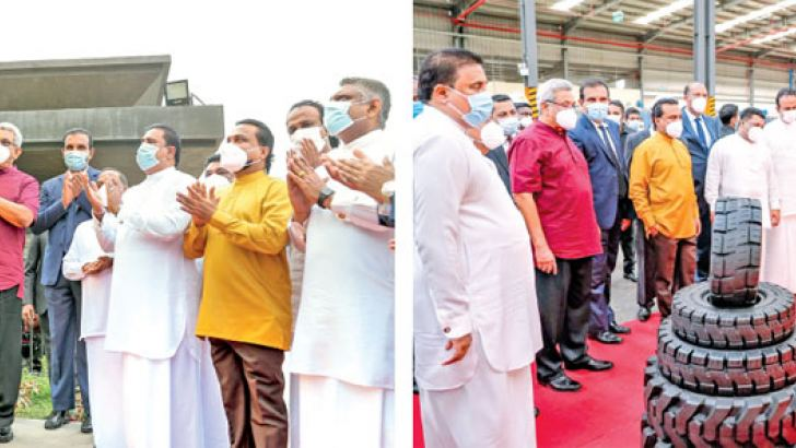 President Gotabaya Rajapaksa unveiling a plaque to open the Ferentino Tyre Corporation (Pvt) Limited's ultra-modern tyre factory in Horana yesterday. He also inspected the production process. Industries Minister Wimal Weerawansa and several other ministers, MPs and local political representatives participated.   Pictures courtesy President's Mdeia Division