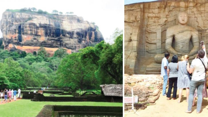 A group of Ukrainian tourists visited the Sigiriya Fortress and Polonnaruwa Gal Viharaya recently under the pilot project of the Government to revive the tourism industry hit by the COVID-19 pandemic.  (Pictures by Kanchana Ariyadasa - Sigiriya Group Corr. and D.A. Piyathilaka - Medirigiriya Group)