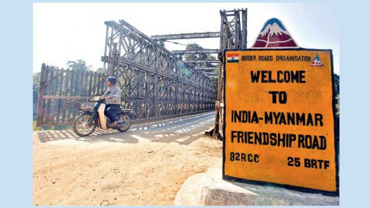 The Indo-Myanmar border bridge at the border town of Moreh in Maniput State.