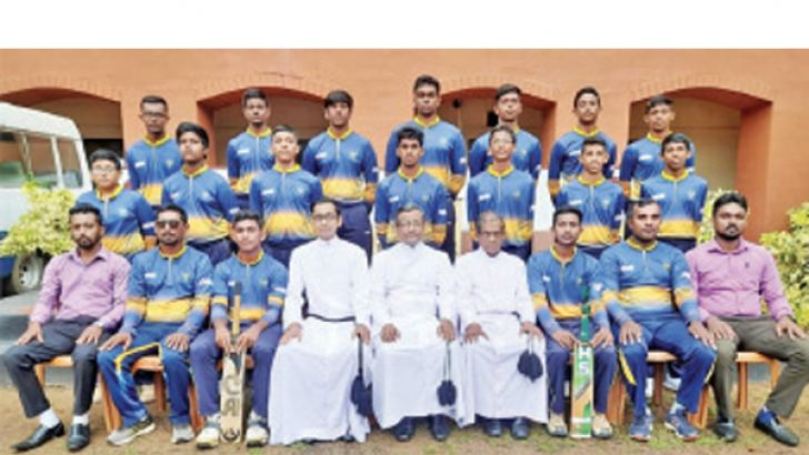 St. Josephs College, Nugegoda first ever under 19 cricket pool 2021 with the school officials. Onrey Perera seated third from left. (Dilwin Mendis, Moratuwa Sports Special Correspondent)