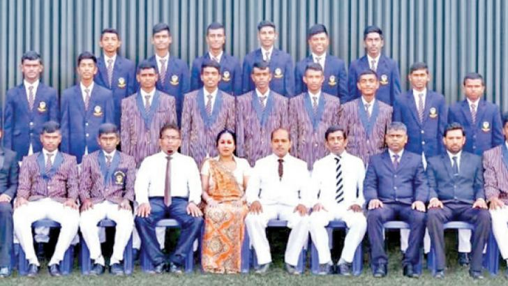Piliyandala Central First Eleven Cricket Pool 2019/20 with the officials. Nethma Ashen Rodrigo is standing in the middle row eighth from left. (Picture by Dilwin Mendis, Moratuwa Sports Special Correspondent)