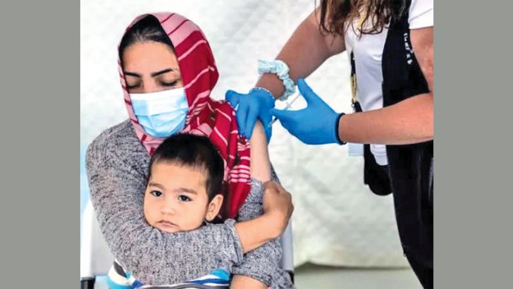 Vaccination against the coronavirus disease (COVID-19) in the Mavrovouni camp for refugees and migrants on the island of Lesbos.
