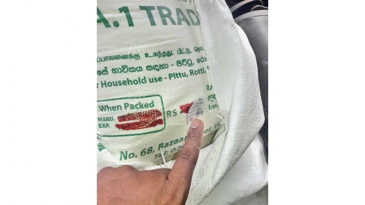One of the bags of wheat flour seized by CAA officials.