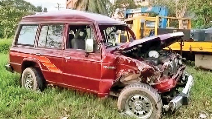 The wreckage of the jeep that collided with the train at the Wekunugoda railway crossing.