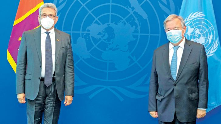 President Gotabaya Rajapaksa who is attending the 76th session of the United Nations General Assembly met United Nations Secretary-General Antonio Guterres at the United Nations Headquarters in New York on Sunday(19). Picture courtesy President's Media Division