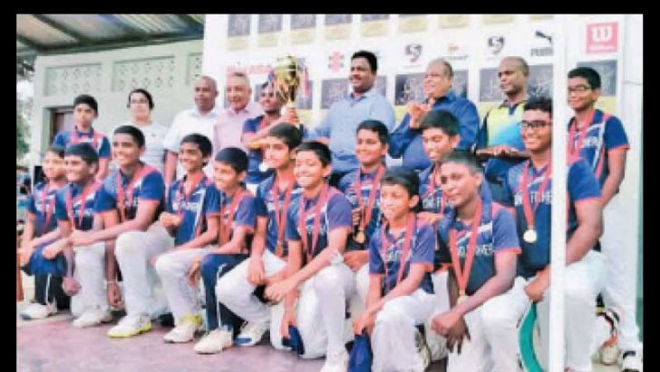 King Fisher under 13 cricket team posed for a photograph just after the finals against Freedom Cricket Academy at Ananda Sasthralaya Cricket Grounds Kotte.