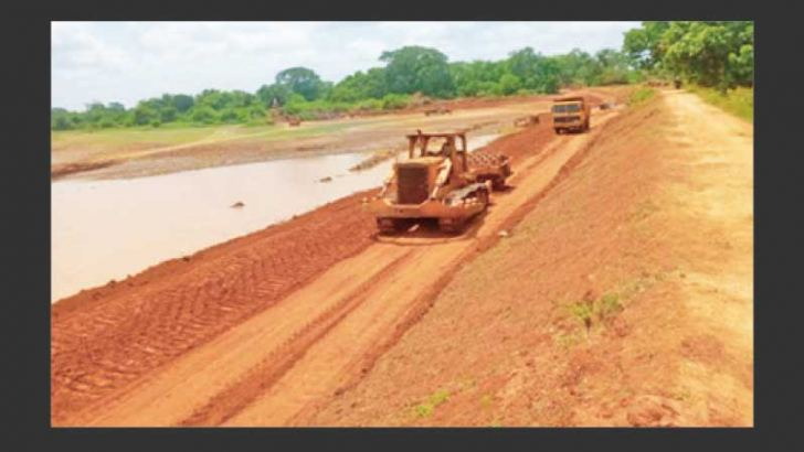 Work on the Kuda Wilachchiya Tank project situated in the Wilpatthu National Park underway.